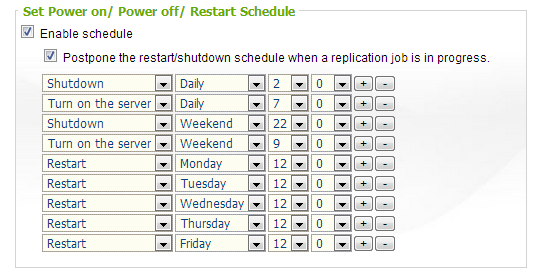 Scheduled Power on/off or Restart