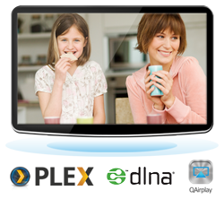 Stream media via DLNA, AirPlay, and Plex